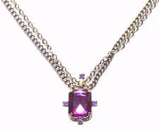 Bejeweled-sublime Purple Gem Pendant/rustic Bronze Dual Chain Necklace(Zx194/sr)