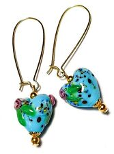 Gold Turquoise Heart Earrings Glass Bead Pierced Hook Vintage Boho Style Artisan