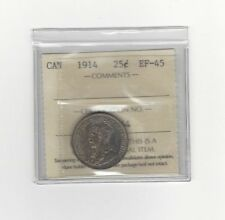 **1914**, ICCS Graded Canadian, 25 Cent, **EF-45**