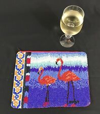 Jasper and Jeera Beaded Clutch, Zippered, Made in India, Flamingos, 10.5 x 8