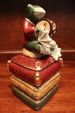 Unique Frog on Books Playing Drum Porcelain Box Novelty Gift