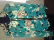 Beautiful feather print sheer blouse with zipper.+ FREE GIFT