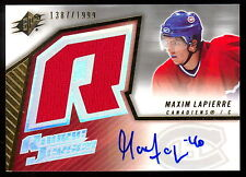 2005-06 UD UPPER DECK SPX MAXIM LAPIERRE RC CANADIENS CANUCKS JERSEY AUTO /1999