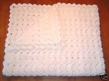 New Handmade White Crochet Baby Blanket Afghan
