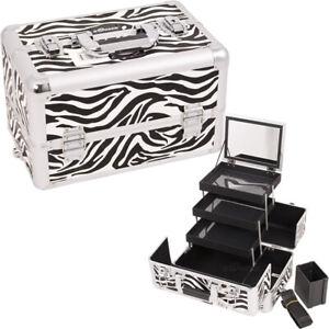 Zebra Makeup Train Case Cosmetic Organizer Storage Trolley Sunrise NIB