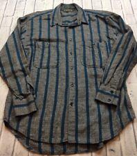 90s VTG LEVIS SUTTER CREEK Shirt VAPORWAVE Salt & Pepper VERTICAL Striped L