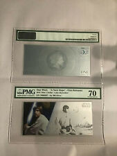 5 GRAM COIN NOTE 2018 SILVER STAR WARS PRINCESS LEIA PMG 70 FIRST RELEASES