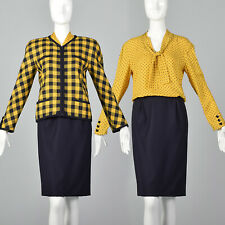 Xs 1980s Valentino Boutique Three Piece Set Pussy Bow Blouse Pencil Skirt 80s