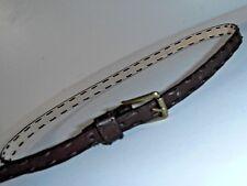 "Size S Brown 5/8"" Wide big stitch brass buckle 28 29 30 31 32"" fit  leather belt"