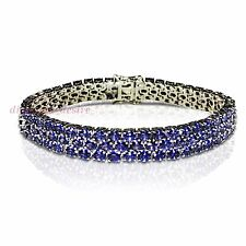 DISPLAY Three Row 30ct Tanzanite White Gold on Sterling Silver Tennis 3 Bracelet