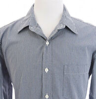 Thompson Shirtings J Crew Mens 80s 2-Ply Button Up Front Shirt Plaid Blue Sz L