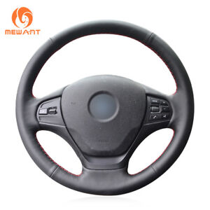 Black Real Leather Car Steering Wheel Cover for BMW 3 Series F30 F31 F34 F35