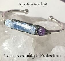 Healing Crystals Kyanite & Amethyst On Pyrite Silver Plated Cuff REIKI Infused