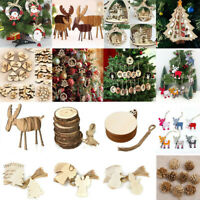 3D Xmas Tree Wooden Pendants Hanging DIY Christmas Decoration Home Party Decor