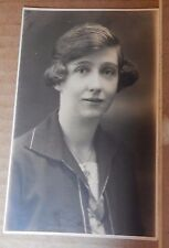 Postcard Young Lady studio shot Head and Shoulders vintage fashion unposted
