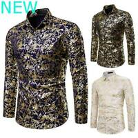 Blouse Floral Dress Shirts Luxury Top Slim Fit Mens Long Sleeve Casual Stylish
