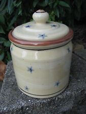 HARTSTONE POTTERY CANISTER COOKIE JAR OLD GLORY BLUE STARS 3 LB STONEWARE