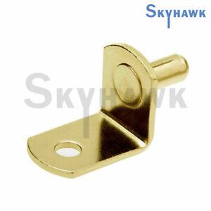 "24 Pc 1/4"" L-Shaped Shelf Support Peg Pin Bracket Cabinet Closet Polished Brass"