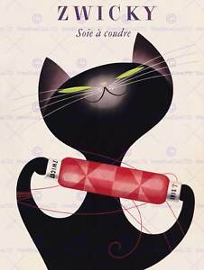 ZWICKY COTTON SWITZERLAND BLACK CAT REEL THREAD COOL ART PRINT POSTER BB7669