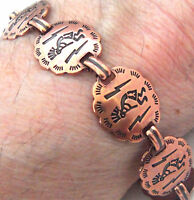 "Copper Bracelet 7.25"" Linked Wheeler Kokopelli Arthritis Healing Folklore cb 265"
