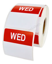 20 Rolls of Wednesday Day of the Week Labels (500 lbls/roll, 40mmx40mm) BPA Free