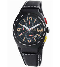 Montres De Luxe Milano Men's  Black Avio Genuine Leather Date Chrono Watch