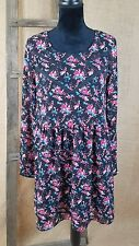 Forever 21 women small peasant long sleeve high waist dress floral lined
