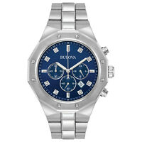 Bulova Men's Quartz Diamond Accents Chronograph Blue Dial 44mm Watch 96D138