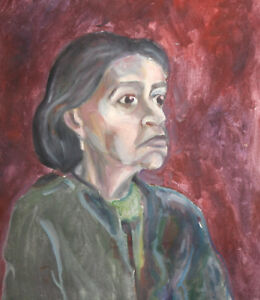 Woman portrait expressionist oil painting