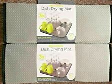 2 X Microfibre Mat Dish Drying Kitchen Sink Drainer Washing up - Super Absorbent