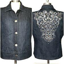 Womens Chicos Platinum Denim Vest Size 2 (12) Rhinestones Embroidered Blue Jean
