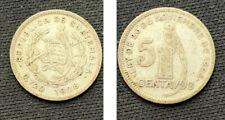 1928 Guatemala 5 Centavos Coin  .720 Silver   World Coin  A851