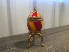 Rrc Collectible Red-Yellow-Gold W/ Gems Egg Trinket Box Footed Stand