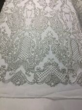 Lace Fabric - Embroidered Bridal Veil & Wedding Decorations Silver By The Yard