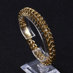 Mens Jewelry stainless steel Gold Figaro Link chain bracelet bangle 8mm 8.66''