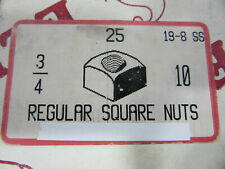 (25) 3/4-10 18-8 Stainless Square Hex Nuts NEW!!!