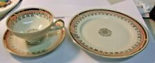 Vintage RIEBER MITTERTEICH  Bavaria China CUP, SAUCER & DESSERT Plate Gold Trim