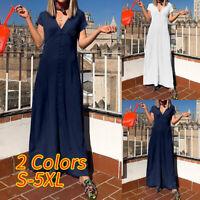 Womens Front Button V Neck MAXI Tea Dress Ladies Formal Party Sundress Plus Size