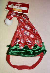 HOLIDAY TIME ELF HAT * RED AND GREEN WITH SILVER SNOWFLAKES * MEDIUM/LARGE * NEW