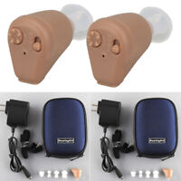 Pair Rechargeable Hearing Aids Mini Invisible Enhancer Sound Voice Amplifier US