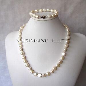 "20""/7.5"" 10-12mm White Baroque Freshwater Pearl Necklace Bracelet Set Z U"