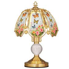Floral Butterflies Glass Shade 3-Light Touch Lamp - 16 1/2H