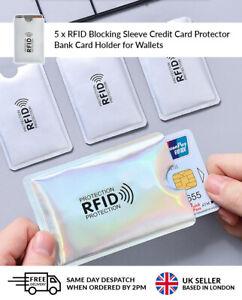 5 x RFID Logo Blocking Sleeve Credit Card Protector Bank Card Holder for Wallets