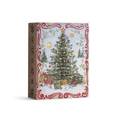 Lit Christmas Tree Wood Box Vintage-Christmas Decor Lights Up New Victorian