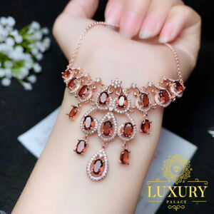 Natural Red Garnet Rose Gold Plated 925 Sterling Silver Cocktail Luxury Necklace