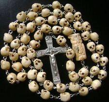 OXEN BONE SKULL BEADS OWL ROSARY CRUCIFIX CATHOLIC NECKLACE CROSS gift