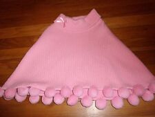 GYMBOREE EUC JACKET SIZE 6 7 8 9 PONCHO GIRAFFE CLUB WINTER PINK POM POMS COTTON
