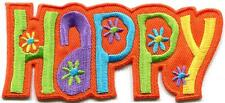 Happy retro 70s hippie flower power love peace applique iron-on patch new S-1346