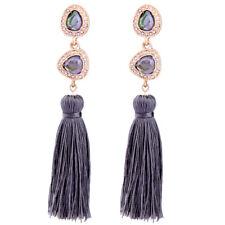 Boucles d'Oreilles Clous Doré Chandelier Art Deco Long Pompon Gris Retro AA21
