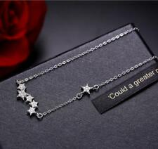 925 Sterling Silver Micro-inlay Cubic Zirconia Stars Chain Pendant Necklace